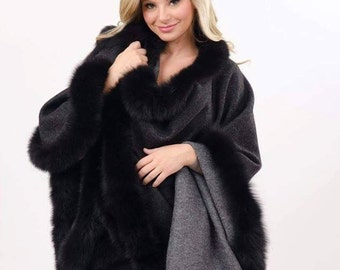 Reversible taupe burgundy alpaca cape with fox trim