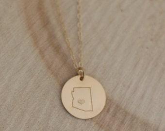 Gold Fill Arizona Charm Necklace, Arizona State Necklace, Phoenix Love Necklace, Gold Arizona Necklace