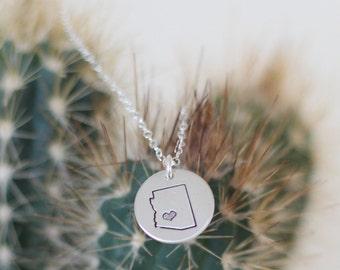 Silver State Jewelry Map Pendant, Arizona Circle Pendant Necklace, Silver Arizona Necklace, Small Arizona State Necklace