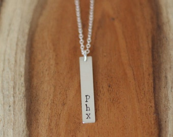 PHX Necklace, Phoenix Necklace, Custom Phoenix Necklace, Sterling Silver Phoenix Necklace, Silver City Necklace, Custom City Jewelry
