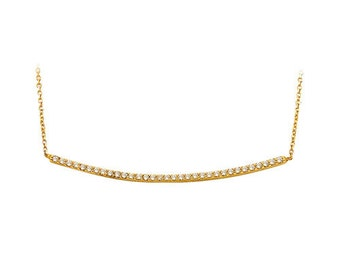 14K Solid Yellow Gold Waterline Necklace OG077