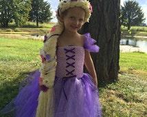 Rapunzel Costume, Tulle Dress and Braid, Halloween Costume, Tangled