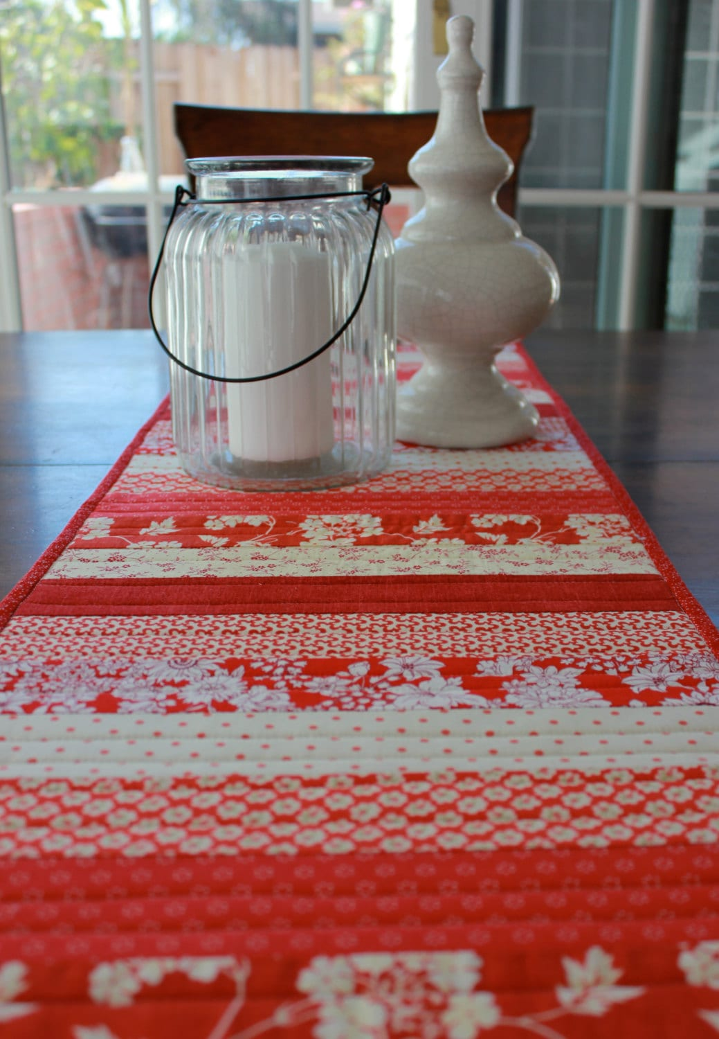 Patchwork table runner table topper red and white quilt for 102 table runner