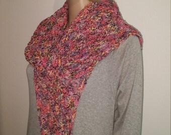 Tunisian crochet Ribbon yarn striped scarf from a colorful
