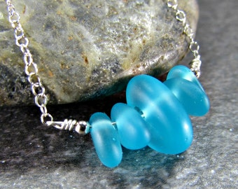 Blue Sea Glass Necklace, Blue Beach Glass Necklace, Sea Glass Beads, Sterling Silver or Gold Filled, Beach Gifts, Seaglass Sea Glass Jewelry