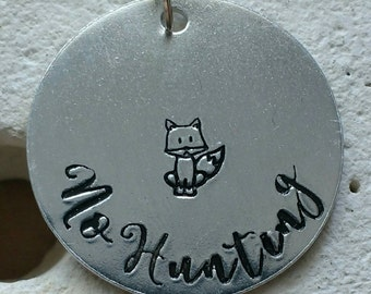 "No hunting fox necklace - vegan jewellery - vegan necklace - jewelry - animal rights jewellery - handstamped 28mm pendant on 18"" chain"