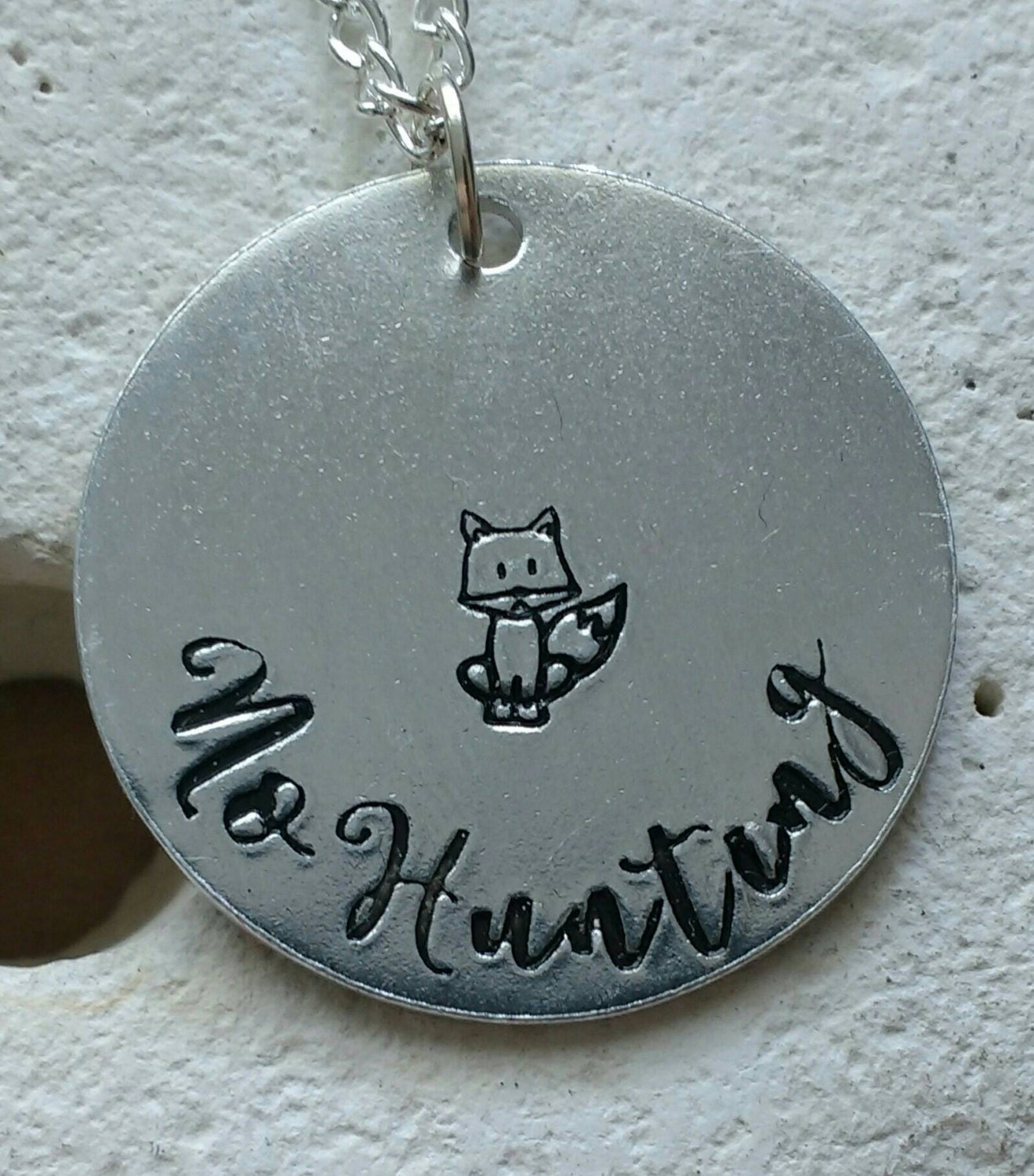 """No hunting fox necklace - vegan jewellery - vegan necklace - jewelry - animal rights jewellery - handstamped 28mm pendant on 18"""" chain"""