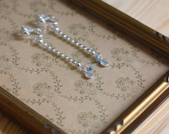 Silver plated STAN clips and beads earrings