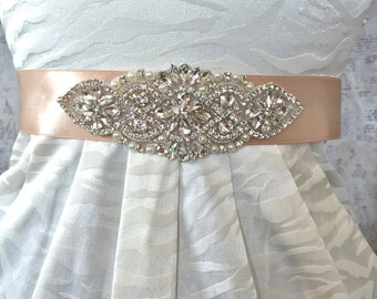 Bridal Sash, Wedding Sash, Rhinestone Wedding Sash, Rhinestone Wedding Belt, Wedding Dress Sash, Blush Bridal Sash, Blush Sash, Bridal Belt