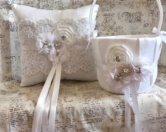 Ring Bearer Pillow and Flower Girl basket, Flower girl basket, Lace ring bearer pillow, ring pillow, vintage flower girl basket