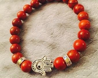 Red Jasper Evil Eye/Hamsa, Evil Eye/Hamsa beaded bracelet with red Jasper beads, gifts for her