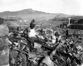 Nagasaki Temple Destroyed, Japan, Atomic Bomb Blast, WWII, Photo Print