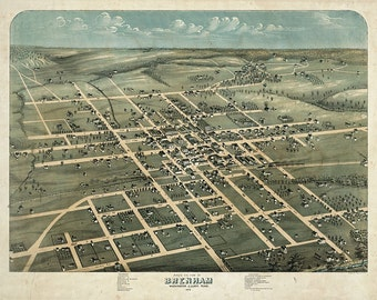"Brenham, Texas in 1873 - Town, Aerial View ""Bird's Eye View""- Map Print"