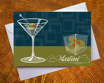 Martini - Blank Note Card - Martini Card - Blank Inside Card - Cocktail Card - Martini Note Card - Cocktail Note Card - Olives