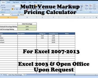 Retail Markup Calculator, Markup Pricing Formula, Excel Margin Formula