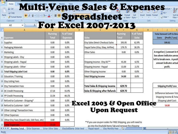 multi venue sales and expenses spreadsheet summarizes etsy. Black Bedroom Furniture Sets. Home Design Ideas