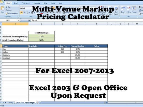 Retail Markup Calculator Markup Pricing Formula Excel Margin