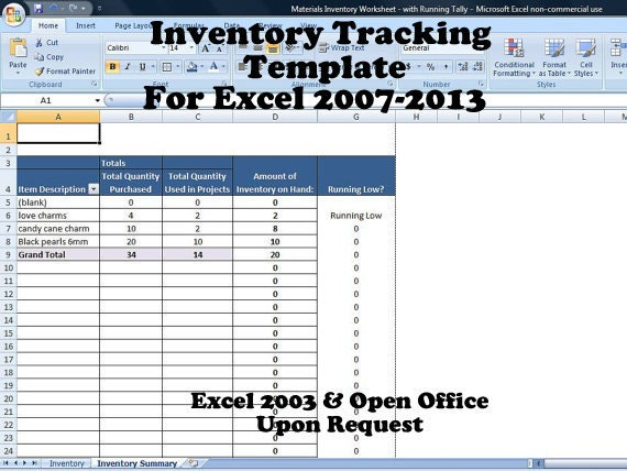 inventory tracking template calculates running tally of