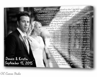 Wedding song lyrics Custom canvas print Wedding vows with photo First dance song Frame cotton canvas print