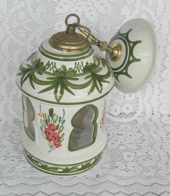 Ceramic Pendant Light Rustic Light Fixture Retro Lighting: Vintage Ceramic Pottery Hanging Ceiling Light Fixture Lamp