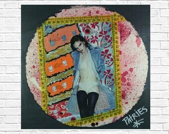 Mixed Media Art: Pink Bambi, Colorful art, Original Handmade Collage