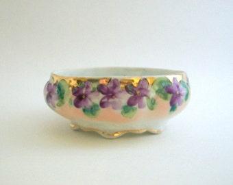 Vintage Ring Dish, Floral Ring Dish, Flower Ring Dish, Purple Ring Dish, Ring Dish, Jewelry Dish, Trinket Dish, Purple Trinket Dish, Bowl