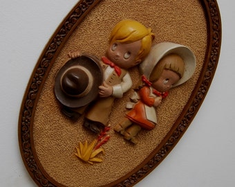 Cowboy Cowgirl picture Oval Frame Home Interior Holly Hobby Precious Moments 60's style