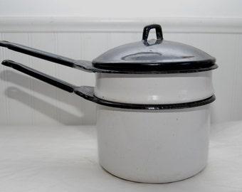 Enamelware Double Boiler Black Lid - Graniteware Enamel Granite - Vintage Cookware - 40s Cooking Pan - Farmhouse Kitchen Pot - Candy Pan