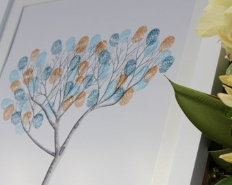 Includes FRAME The Fingerprint Tree®: Olive (B&W), wedding guest book, guestbook, premium guestbook