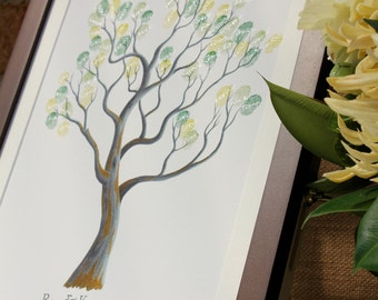 Includes FRAME The Fingerprint Tree®: Walnut, wedding guest book, guestbook, premium guestbook