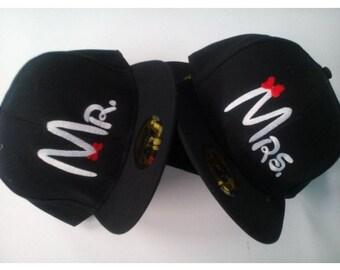 Snapback Mrs. Mr.  Couple Snapback, Couple hat, Mr Mrs, love hat, embroidery caps