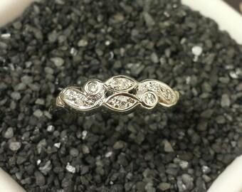 Antique Art Deco Style 14k White Gold Diamond Ring