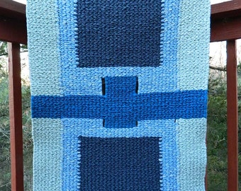 Twined Tapestry Rag Rug in Shades of Blue