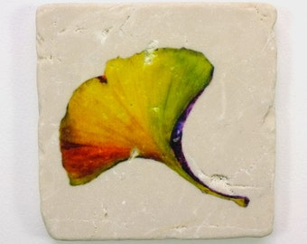Ginkgo Leaf Absorbent Tumbled Stone Coaster Original Watercolor Fall Leaves