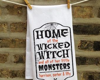 Halloween Kitchen Towel, Personalized Halloween Decor, Halloween Kitchen Decor, Wicked Witch Halloween Kitchen Towel, Halloween Tea Towel
