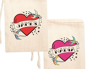 Personalized Party Favors, Custom Party Favor Bags, Tattoo Flash Print Favor Bags, Heart Print Favor Bags, Valentines Party Favor Bags