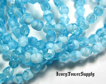 30 6mm Czech Glass Beads, Faceted Beads, Round Beads, Blue Beads, White Beads