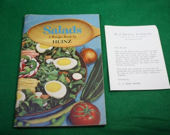 Vintage Promotional Heinz Salad recipe book with H.J Heinz typed reply note.