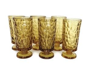 Vintage Fostoria glasses Pebble Beach yellow set of 6 lemon twist