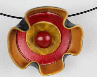 Red Orange Pendant, Statement Necklace, Trendy Jewelry, Funky Necklace, Polymer Clay Pendant, Fun Jewelry, Etsy Gifts, Multi Color Necklace