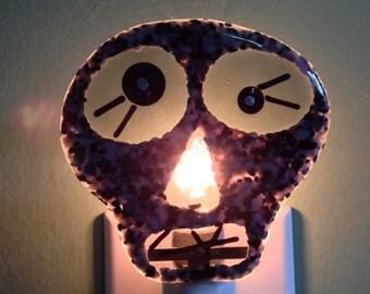 Skull, Halloween, Day of the Dead, Fused Glass, Black, Night Light, Creepy, Halloween Decor