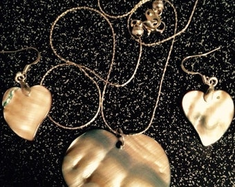 Albalone Shell Necklace/Earrings Set