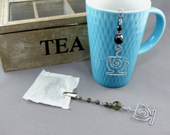 Tea Bag Steeper - Tea Bag Clip with Silver Wire Tea Cup and Glass Beads - Tea Bag Holder