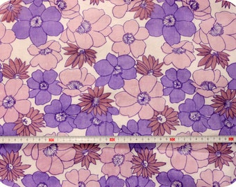 Floral retro vintage fabric NOS / New Old Stock - purple