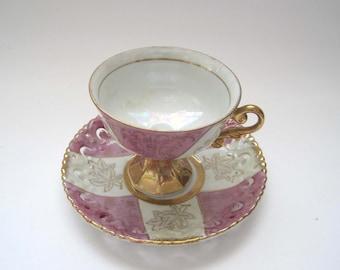 SALE:  Royal Crown 55/905 Footed Teacup, Lusterware, ArnArt, Purple, Pedestal Teacup, Gold Accent, Elegant Gold Handle, Small Repair