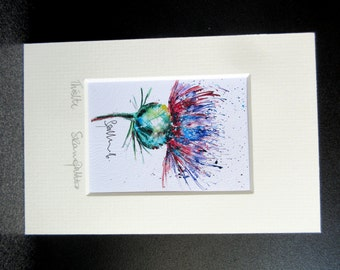 Scottish Thistle.   Miniature signed art print from an Original painting by Suzanne Patterson.XX