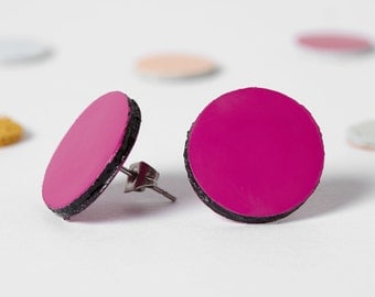 Minimal stud earrings, Leather stud, Hot pink earrings, Round stud, Everyday earrings, Color block jewelry, Gift for her under 15, for girl