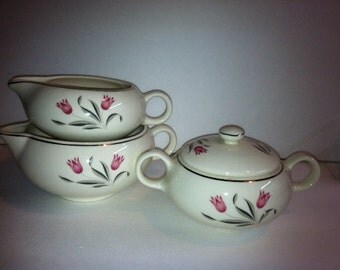 Salem China Pattern 56 Pink Tulips Set of 2 Creamers and Covered Sugar Bowl