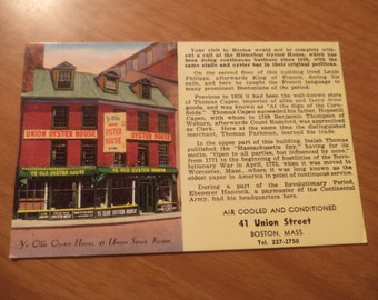 Vintage Original Olde Oyster House Boston Mass Postcard Free Shipping