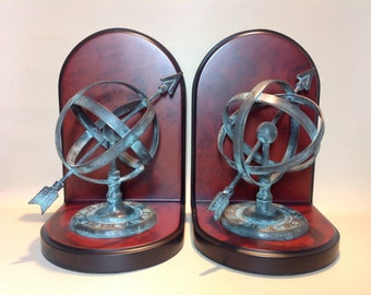 1970s Reproduction Armillary Sphere Sun Dial Book Ends.